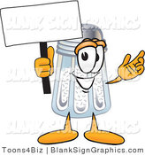 Vector Illustration of a Happy Salt Shaker Holding a Blank Sign and Waving by Toons4Biz