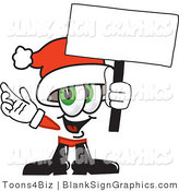 Vector Illustration of a Happy Santa Holding a Blank Sign and Waving by Toons4Biz
