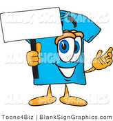 Vector Illustration of a Happy Shirt Holding a Blank Sign and Waving by Toons4Biz