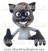 Vector Illustration of a Happy Siamese Pussy Cat Character Giving the Thumbs up and Standing Behind a Blank Sign by Julos