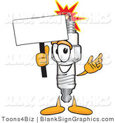 Vector Illustration of a Happy Spark Plug Holding a Blank Sign and Waving by Toons4Biz