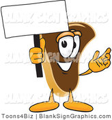 Vector Illustration of a Happy Steak Holding a Blank Sign and Waving by Toons4Biz
