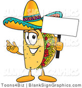Vector Illustration of a Happy Taco Holding a Blank Sign and Waving by Toons4Biz
