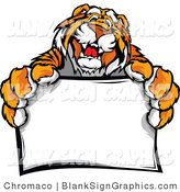 Vector Illustration of a Happy Tiger Mascot Holding a Blank Sign by Chromaco