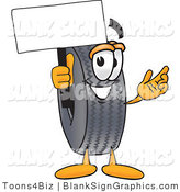 Vector Illustration of a Happy Tire Holding a Blank Sign and Waving by Toons4Biz
