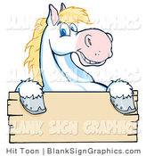 Vector Illustration of a Happy White and Blond Horse over a Blank Wooden Sign by Hit Toon