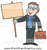 Vector Illustration of a Happy White Businessman Holding a Blank Sign by Visekart