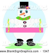 Vector Illustration of a Happy Winter Snowman Wearing a Hat and Scarf and Holding a Blank Pink Sign by