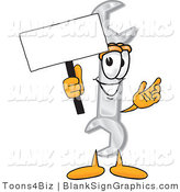 Vector Illustration of a Happy Wrench Holding a Blank Sign and Waving by Toons4Biz