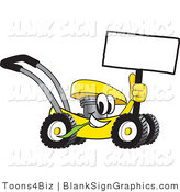 Vector Illustration of a Happy Yellow Lawn Mower Holding a Blank Sign by Toons4Biz