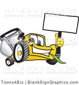 Vector Illustration of a Happy Yellow Lawn Mower Holding up a Blank Sign by Toons4Biz