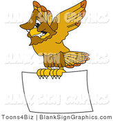 Vector Illustration of a Hawk Flying a Blank Sign by Toons4Biz