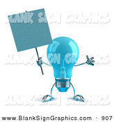 Vector Illustration of a Helpful Blue Glass Light Bulb Character Holding a Blank Sign on a Post by Julos