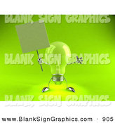 Vector Illustration of a Helpful Green Glass Light Bulb Character Holding a Blank Sign on a Post - Version 4 by Julos