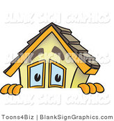 Vector Illustration of a Home Looking over a Blank Sign by Toons4Biz