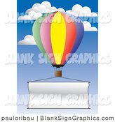 Vector Illustration of a Hot Air Balloon Flying a Blank Banner by Pauloribau