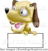 Vector Illustration of a Hound Dog over a Blank Sign by AtStockIllustration