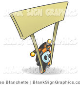 Vector Illustration of a Jester Holding the Poles of a Blank Sign by Leo Blanchette