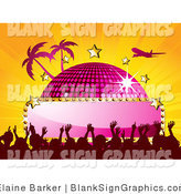 Vector Illustration of a Jet Flying over a Pink Disco Ball with a Blank Sign, Stars, Palm Trees and a Crowd, on a Bursting Orange Background by Elaineitalia