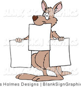Vector Illustration of a Kangaroo Holding up Blank Signs by Dennis Holmes Designs