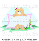 Vector Illustration of a Kitty Cat Sitting with a Blank Sign by Bpearth