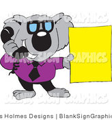 Vector Illustration of a Koala Businessman Talking on a Telephone and Holding a Blank Yellow Sign by Dennis Holmes Designs