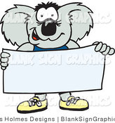 Vector Illustration of a Koala Holding a Blank Sign by Dennis Holmes Designs