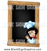 Vector Illustration of a Lady Chef Waving on a Blank Menu Chalk Board by Visekart