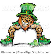 Vector Illustration of a Leprechaun Holding out a Blank Sign by Chromaco