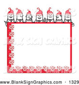 Vector Illustration of a Line of Stick People Characters Looking over a Blank Red Christmas Sign by NL Shop