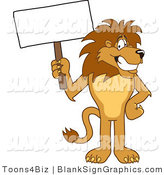 Vector Illustration of a Lion Holding a Blank Sign by Toons4Biz