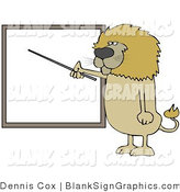 Vector Illustration of a Lion Pointing at a Blank Sign by Djart