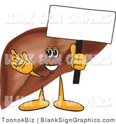 Vector Illustration of a Liver Holding a Blank Sign by Toons4Biz