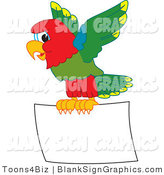 Vector Illustration of a Macaw Parrot Flying a Blank Sign by Toons4Biz