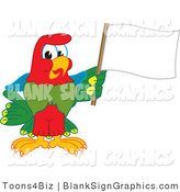 Vector Illustration of a Macaw Parrot Waving a Blank Flag Sign by Toons4Biz