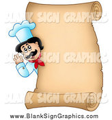 Vector Illustration of a Male Chef Gesturing Ok Around a Blank Scroll Sign or Menu by Visekart