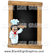 Vector Illustration of a Male Chef Holding a Pizza over a Blank Menu Chalk Board by Visekart