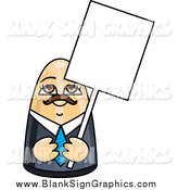 Vector Illustration of a Male Doll Holding a Blank Sign by R Formidable