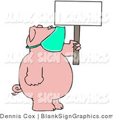 Vector Illustration of a Medical Pig Wearing a Mask and Holding up a Blank Sign by Djart