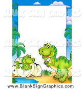 Vector Illustration of a Mother and Hatching T Rex Border with White Space by Visekart