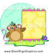Vector Illustration of a Mouse Presenting a Yellow Board over a Blue Globe by