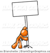 Vector Illustration of a Orange Man Pushing up a Blank Sign by Leo Blanchette