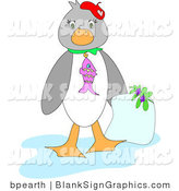 Vector Illustration of a Penguin Holding a Blank Letter by Bpearth