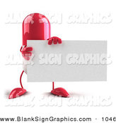 Vector Illustration of a Pink 3d Pill Character Holding a Blank Business Card on White by Julos
