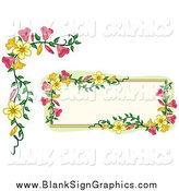 Vector Illustration of a Pink and Yellow Floral Frame and Border by BNP Design Studio