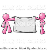 Vector Illustration of a Pink Couple Holding a Blank Sign Banner by Leo Blanchette