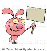Vector Illustration of a Pink Rabbit Holding up a Blank Sign by Hit Toon