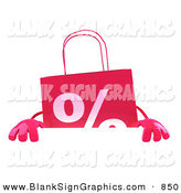Vector Illustration of a Pink Shopping Bag Standing Behind and Holding up a Blank White Sign by Julos