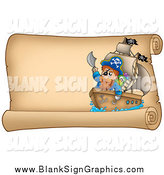 Vector Illustration of a Pirate and Ship on a Parchment Sign by Visekart