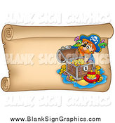 Vector Illustration of a Pirate and Treasure on a Parchment Page by Visekart